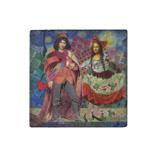Mona Lisa Whimsical Stone Magnets