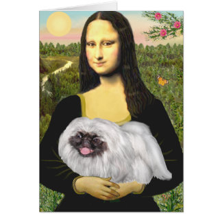Mona Lisa - White Pekingese, black mask Card
