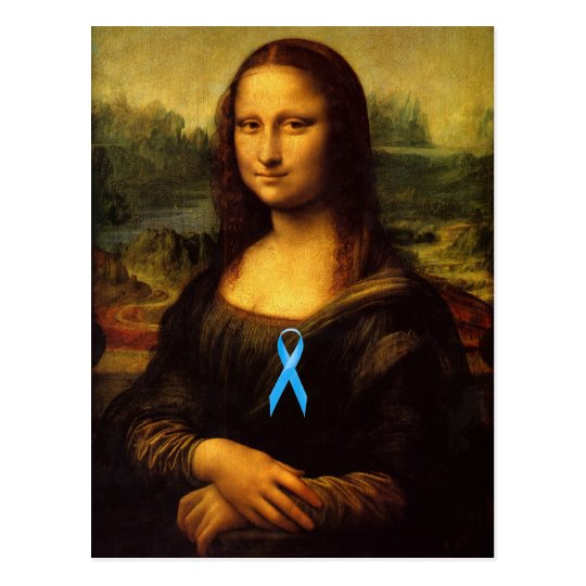 Mona Lisa With Blue Ribbon Postcard