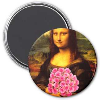 Mona Lisa With Bouquet Of Pink Roses 3 Inch Round Magnet