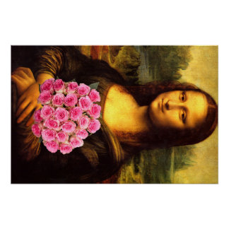 Mona Lisa With Bouquet Of Pink Roses Perfect Poster