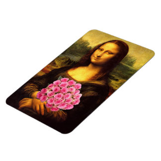 Mona Lisa With Bouquet Of Pink Roses Rectangular Photo Magnet