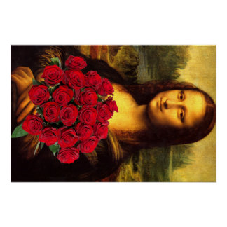 Mona Lisa With Bouquet Of Red Roses Perfect Poster