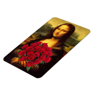 Mona Lisa With Bouquet Of Red Roses Rectangular Photo Magnet