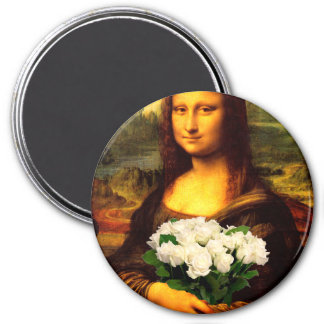 Mona Lisa With Bouquet Of White Roses 3 Inch Round Magnet