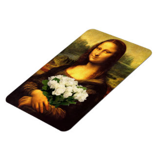 Mona Lisa With Bouquet Of White Roses Rectangular Photo Magnet