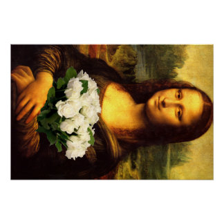 Mona Lisa With Bouquet Of White Roses Perfect Poster
