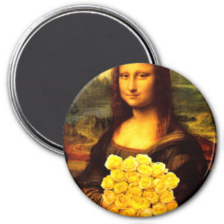 Mona Lisa With Bouquet Of Yellow Roses 3 Inch Round Magnet