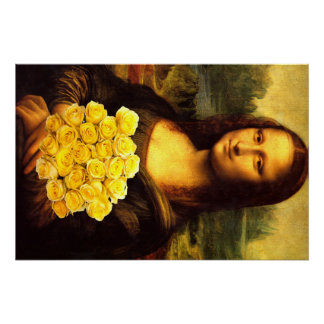 Mona Lisa With Bouquet Of Yellow Roses Perfect Poster