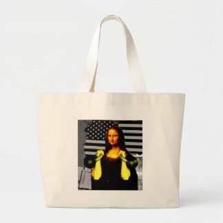 Mona Lisa with KettleBells Large Tote Bag
