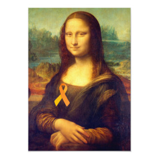 Mona Lisa With Orange Ribbon Card