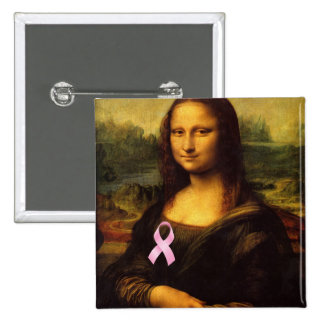 Mona Lisa With Pink Ribbon 2 Inch Square Button