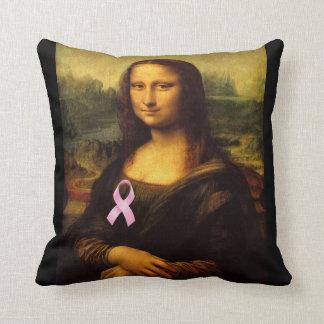 Mona Lisa With Pink Ribbon Throw Pillow