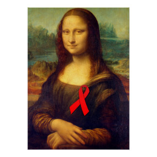 Mona Lisa With Red Ribbon Poster