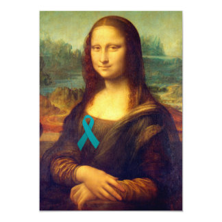 Mona Lisa With Teal Ribbon Personalized Invitations