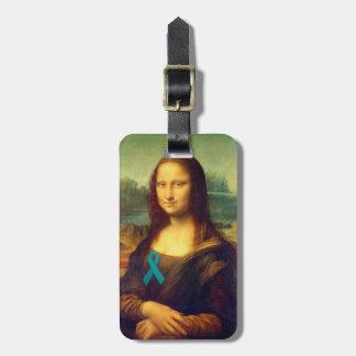 Mona Lisa With Teal Ribbon Luggage Tag