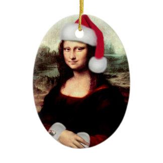 Mona Lisa's Christmas Santa Hat Ceramic Oval Ornament