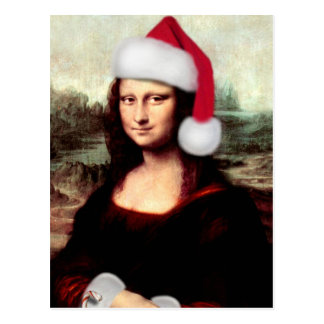 Mona Lisa's Christmas Santa Hat Postcard