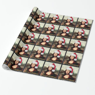 Mona Lisa's Christmas Santa Hat Wrapping Paper