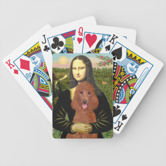 Mona Lisa's Red Standard Poodle Bicycle Playing Cards