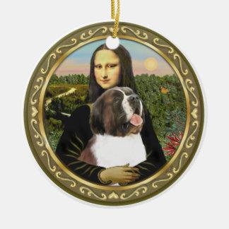 Mona Lisa's Saint Bernard Round Ceramic Ornament