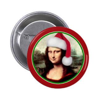 Mona Lisa's Santa Hat 2 Inch Round Button