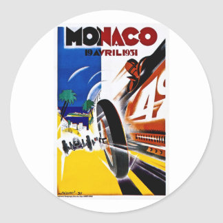 Monaco 1931 Grand Prix - Vintage Race Poster Round Sticker
