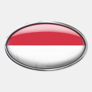 Monaco Flag Glass Oval Oval Sticker