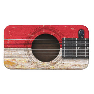 Monaco Flag on Old Acoustic Guitar iPhone 4 Cover