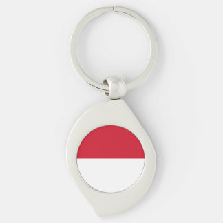 Monaco Flag Silver-Colored Swirl Keychain