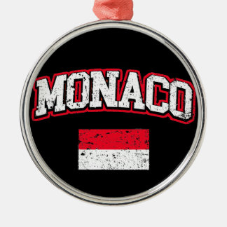Monaco Flag vintage Metal Ornament