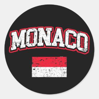 Monaco Flag vintage Round Sticker