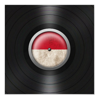 Monaco Flag Vinyl Record Album Graphic Personalized Announcement