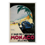 Monaco Grand Prix 1933 Vintage Travel Poster