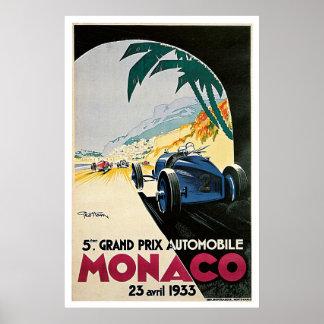 Monaco Grand Prix Auto Vintage Travel Poster