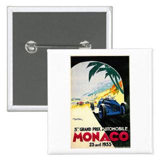 Monaco Grand Prix Car Race Travel Art 2 Inch Square Button
