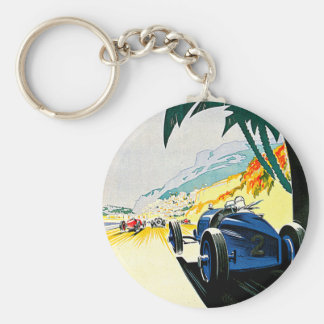 Monaco Grand Prix Car Race Travel Art Basic Round Button Keychain