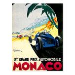 Monaco Grand Prix Car Race Travel Art Post Card
