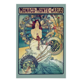 Monaco Monte-Carlo (Teal - muted colors) Poster