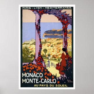 Monaco Monte-Carlo Vintage Travel Poster