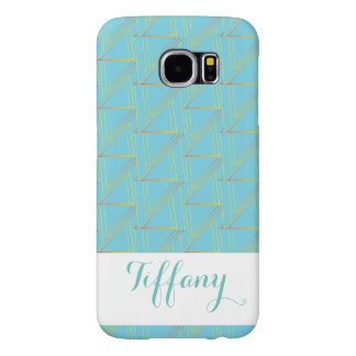 Monagram Geometric Blue Pattern  Galaxy Case