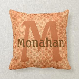 Monagramed Burnt Orange Throw Pillow