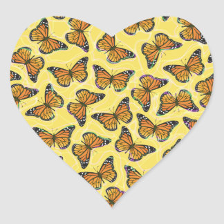 MONARCH BUTTERFLIES HEART STICKER