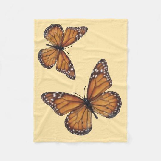 Monarch Butterflies on Peach Fleece Blanket