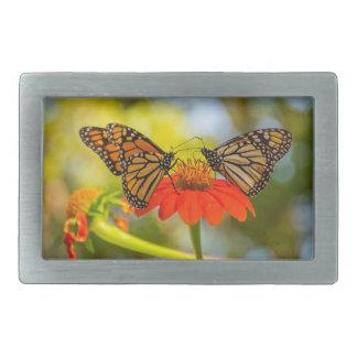 Monarch Butterflies on Wildflowers Rectangular Belt Buckle