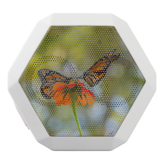 Monarch Butterflies on Wildflowers White Bluetooth Speaker