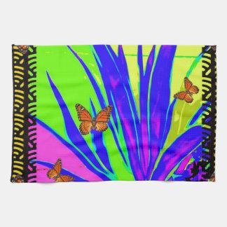Monarch Butterflies Purple Tropical Foliage Gifts Kitchen Towel