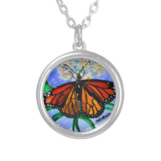Monarch butterflies silver plated necklace