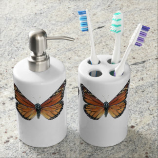 Monarch Butterflies Soap Dispenser And Toothbrush Holder