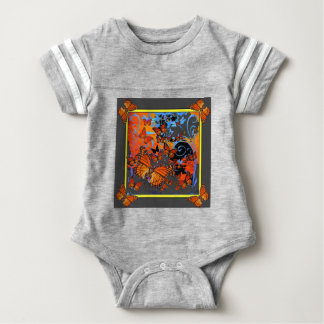 Monarch Butterflies Stormy Weather Art Baby Bodysuit